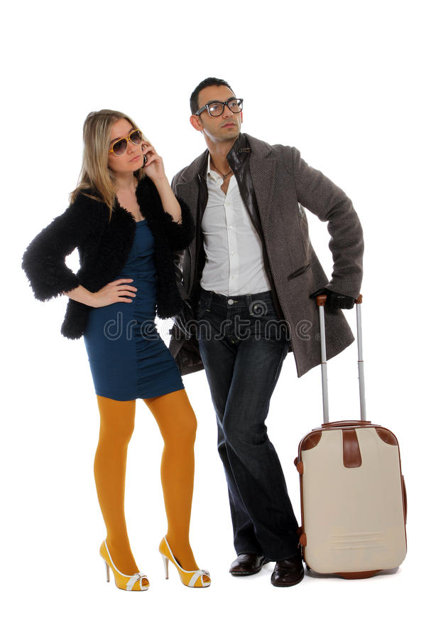 Waiting for a lift stock image