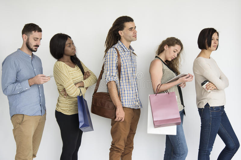 Waiting In Line Diversity Concept stock images