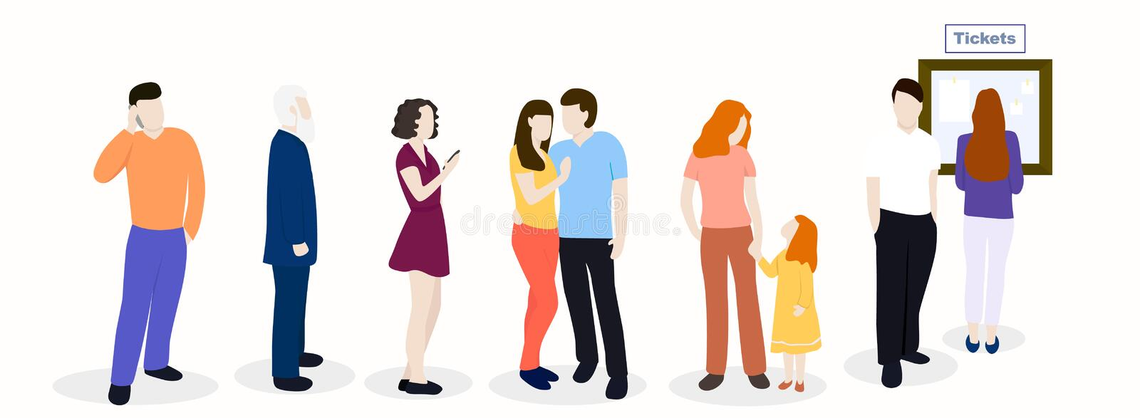 Waiting line of people royalty free illustration