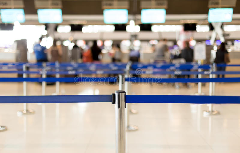 Waiting lines in the airport and security post for passenger stock photography