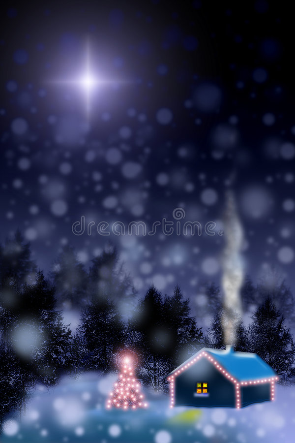 Waiting for a miracle. Christmas star vector illustration