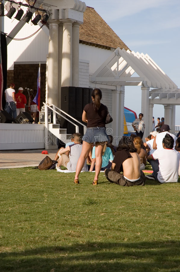 Waiting For An Outdoor Concert Stock Photography
