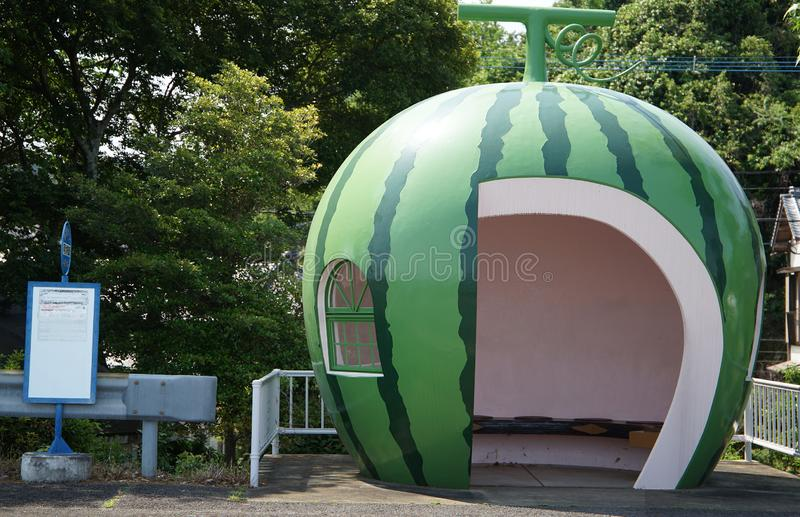 Bus stop of the watermelon. Waiting for place of the bus stop of the form of the watermelon in Japan stock image