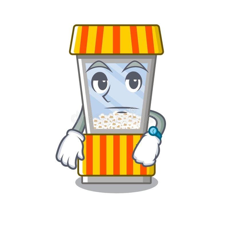 Waiting popcorn vending machine in mascot shape. Vector illustration stock illustration