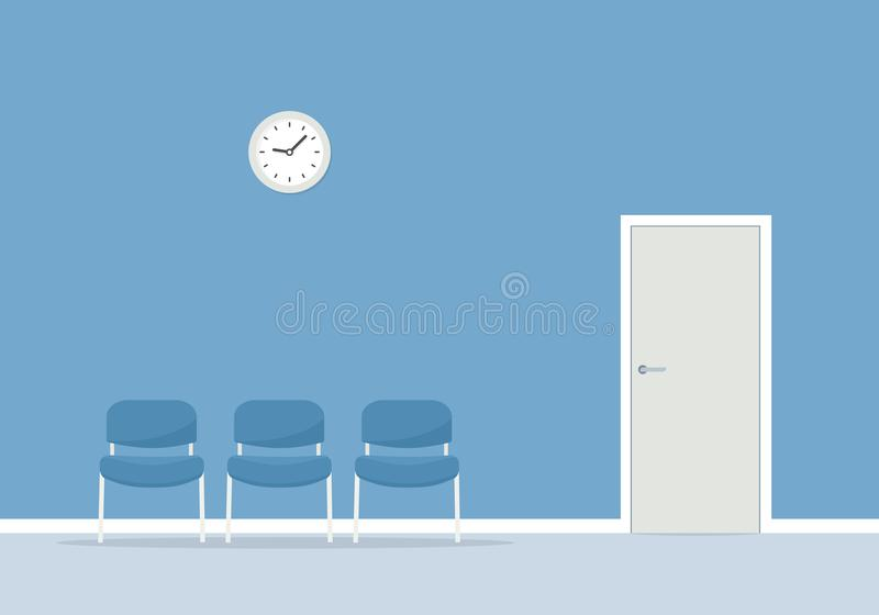 Waiting room with chairs. Vector simple image stock illustration