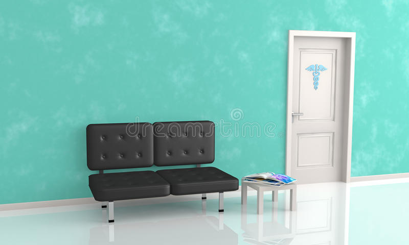 Waiting room of doctor's office vector illustration
