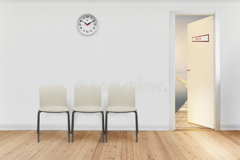 Waiting room. Empty waiting room with open door to go out. Escape for holidays concept royalty free stock images