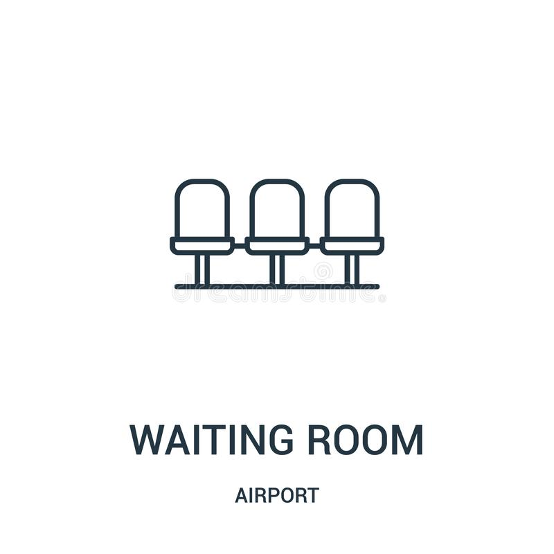 waiting room icon vector from airport collection. Thin line waiting room outline icon vector illustration stock illustration