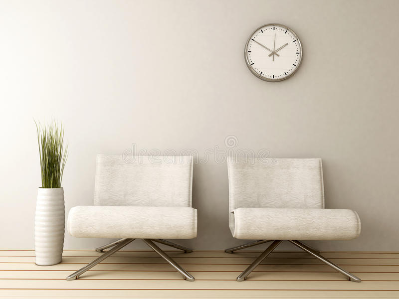 Waiting room with two chairs royalty free illustration
