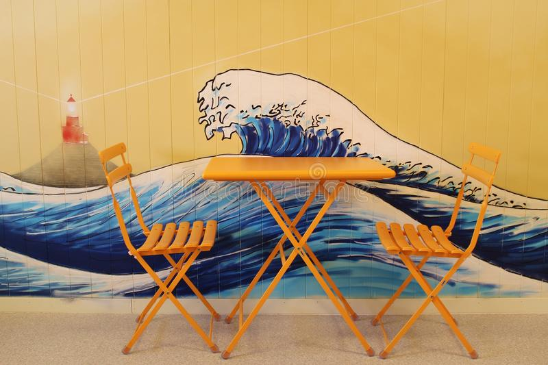 Waiting room with wall painting. The great wave. Norway. royalty free stock photos