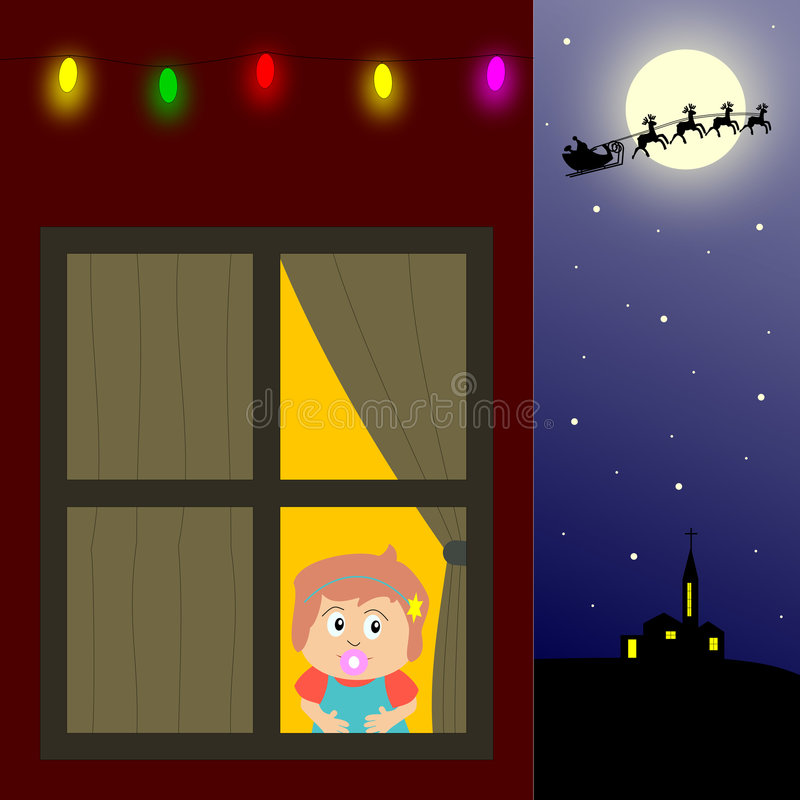 Download Waiting for Santa Claus stock illustration. Illustration of draw - 3666317