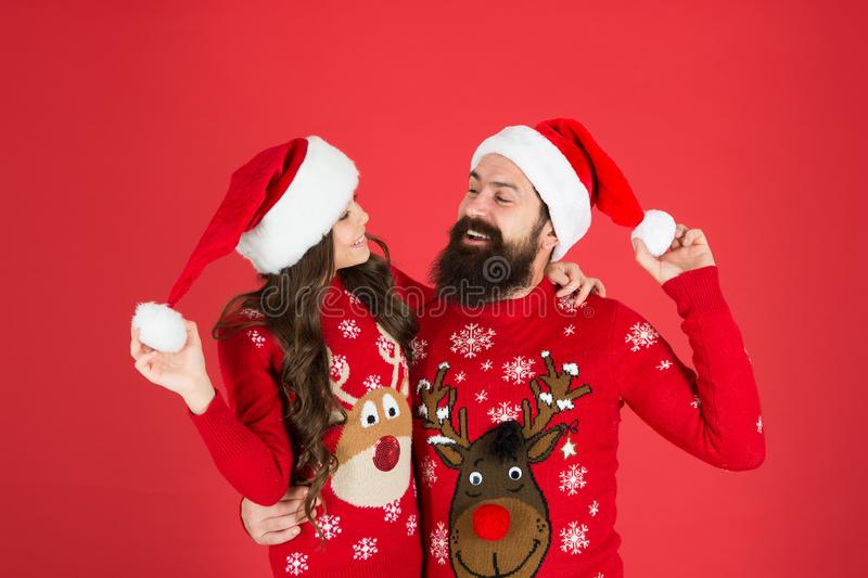 Waiting santa claus. Happy together. Merry christmas. Dad and daughter winter sweaters celebrate new year. Winter royalty free stock image
