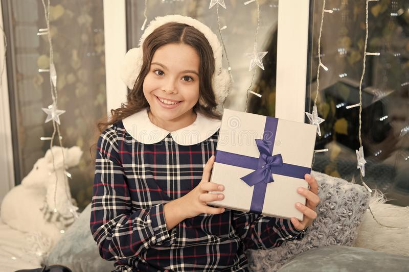 Waiting for santa. Winter. Cute little child girl with xmas present. happy new year. Christmas shopping. christmas. Family holiday. The morning before Xmas royalty free stock photography