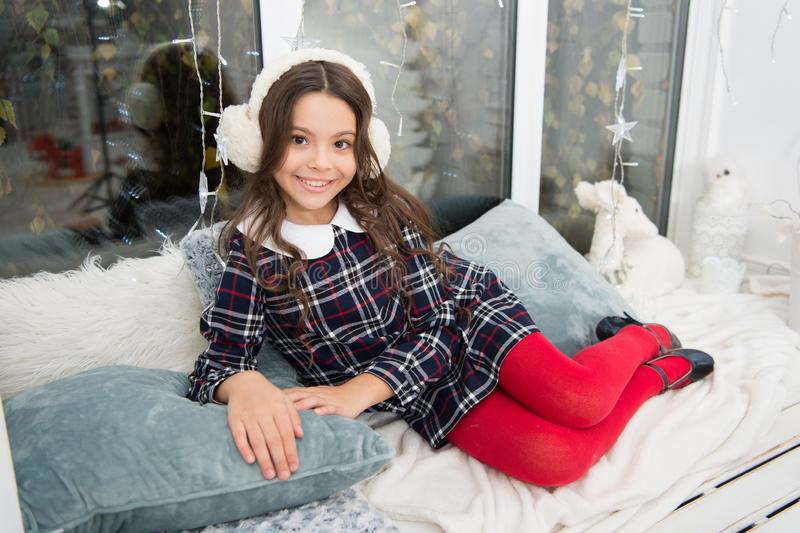 Waiting for santa. Winter. Cute little child girl with xmas present. happy new year. Christmas shopping. christmas. Family holiday. The morning before Xmas stock photo
