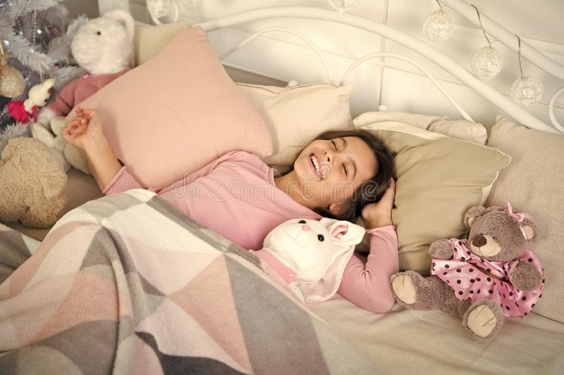 Waiting for santa. Winter. happy new year. Christmas shopping. small girl sleeping at home. christmas family holiday. The morning before Xmas. Sleep. little stock images
