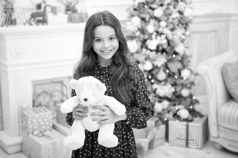 Waiting for santa. Winter. morning before Xmas. happy new year. Christmas shopping. Cute little child girl with xmas. Present. christmas family holiday. May stock photos