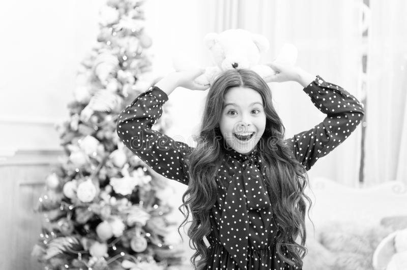 Waiting for santa. Winter. The morning before Xmas. happy new year. Christmas shopping. Cute little child girl with xmas. Present. christmas family holiday stock image