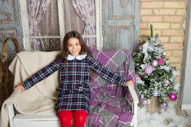 Waiting for santa. Xmas. Cute little child girl with xmas present. happy new year. Christmas shopping. christmas family. Holiday. The morning before Xmas stock photography