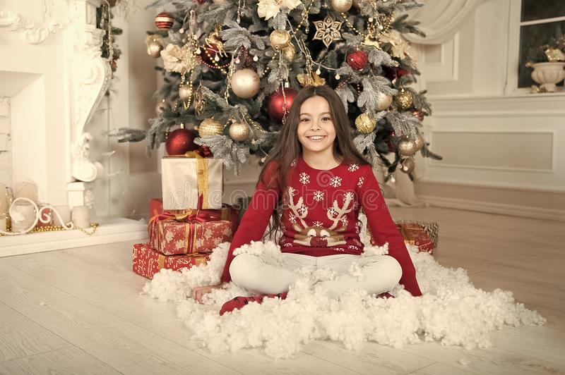 Waiting for santa. Xmas. happy new year. Christmas shopping. christmas family holiday. The morning before Xmas. Cute. Little child girl with xmas present stock images