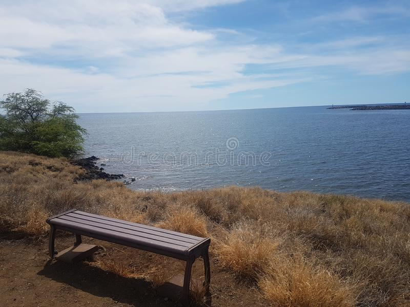 Waiting for someone. Bank, ocean, sea, view, plants, grass, yellow, hawaii, travwl, travel, coast stock image