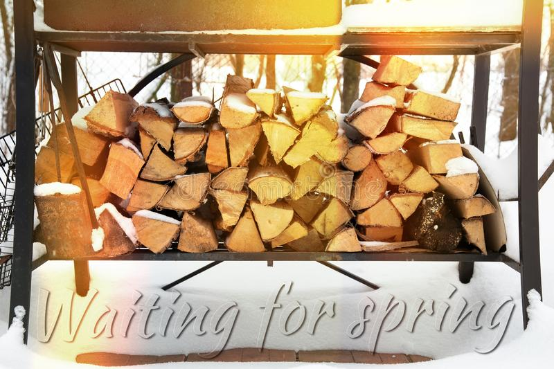 Waiting for spring inscription. Grill in snowdrift. Chopped firewood from pine and birch for bbq under the snow on the street vector illustration