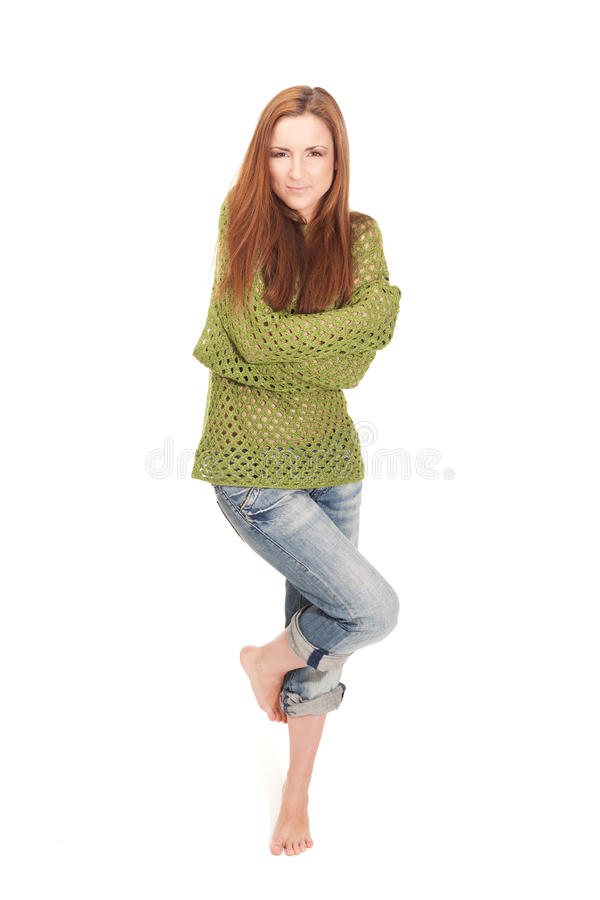 Waiting for the summer. Young girl is freezing waiting summer stock photography