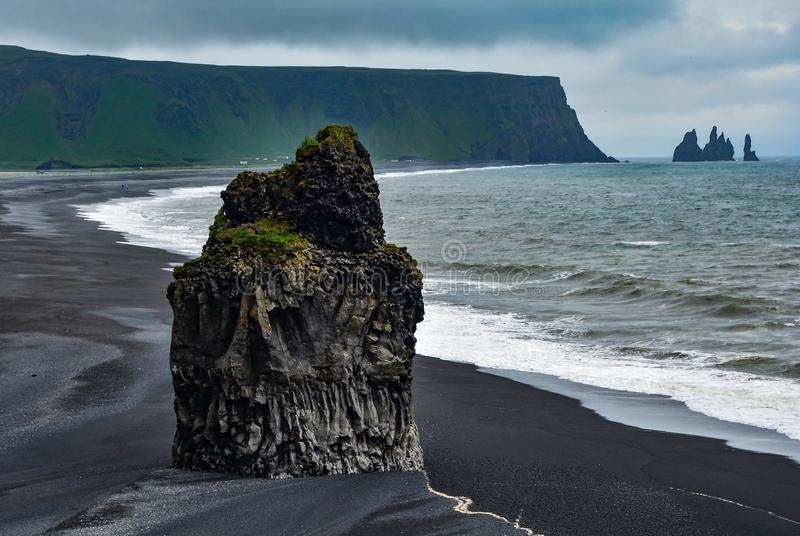 Waiting for the Sun. The Black Beaches Fron Vik, Iceland stock image