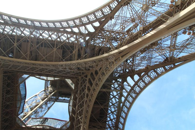 Under Eiffel tower in Paris royalty free stock image