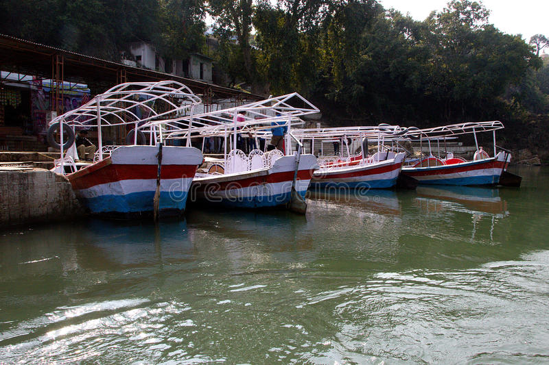 Waiting Tourists Boats, Bedaghat royalty free stock image