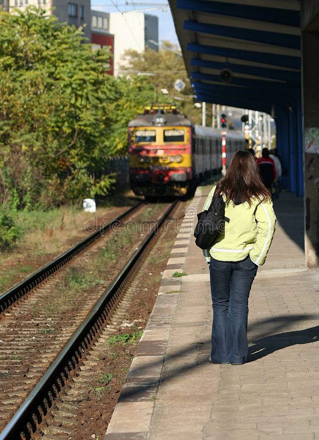 Download Waiting for the train stock image. Image of railway, woman - 1433309