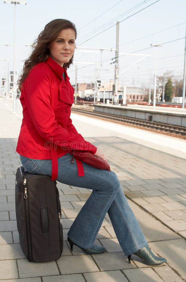 Download Waiting for a train stock image. Image of person, hair - 2202637