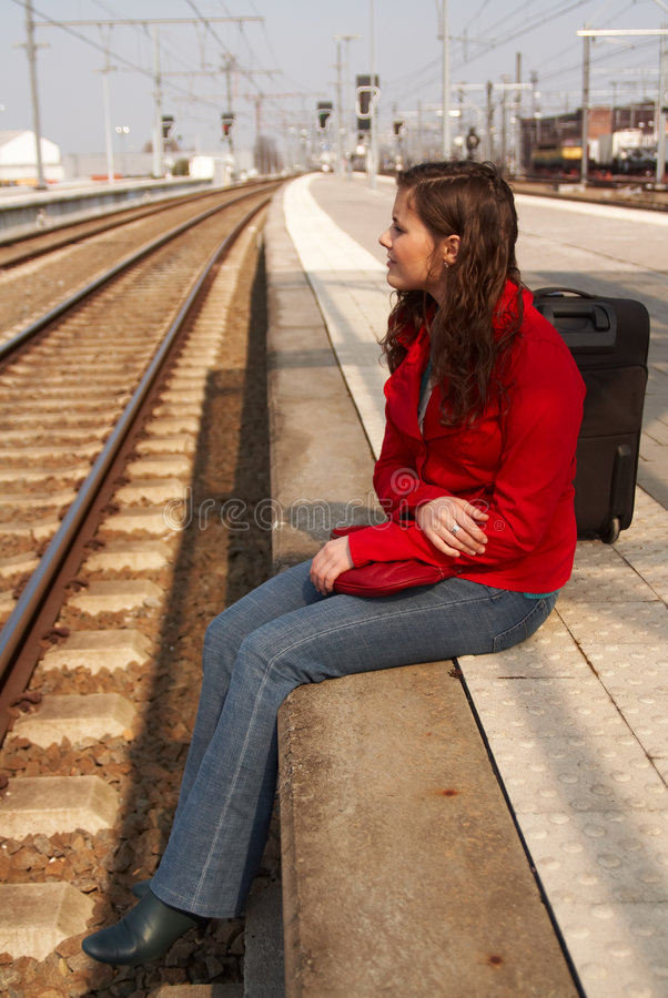 Download Waiting for a train stock photo. Image of blown, woman - 2372994
