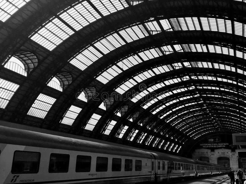 Waiting for the train. Inside a train station in Venice royalty free stock images