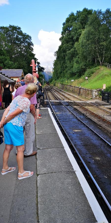 Waiting for Train on Platform. Goathland, grosmont, heritage, moors, pickering, rails, railway, steam, york, yorkshire royalty free stock image