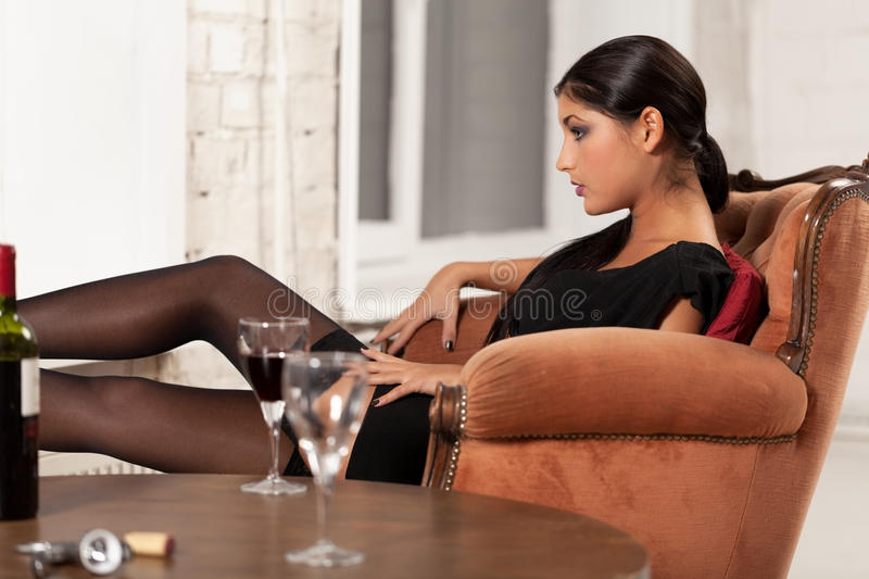 Waiting for you. Woman waiting for man to come stock photography