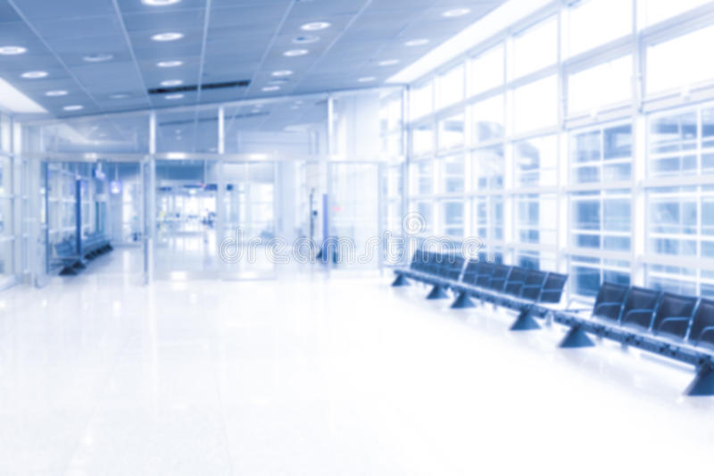 Waiting zone in public building, defocused and overexposed royalty free stock photos