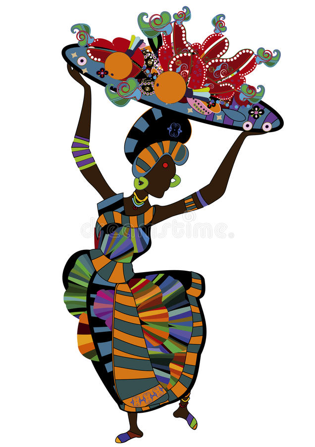 Waitress. Woman in ethnic style with a plate of food for you royalty free illustration