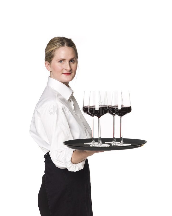 Waitress. With a tray of wineglasses royalty free stock photography