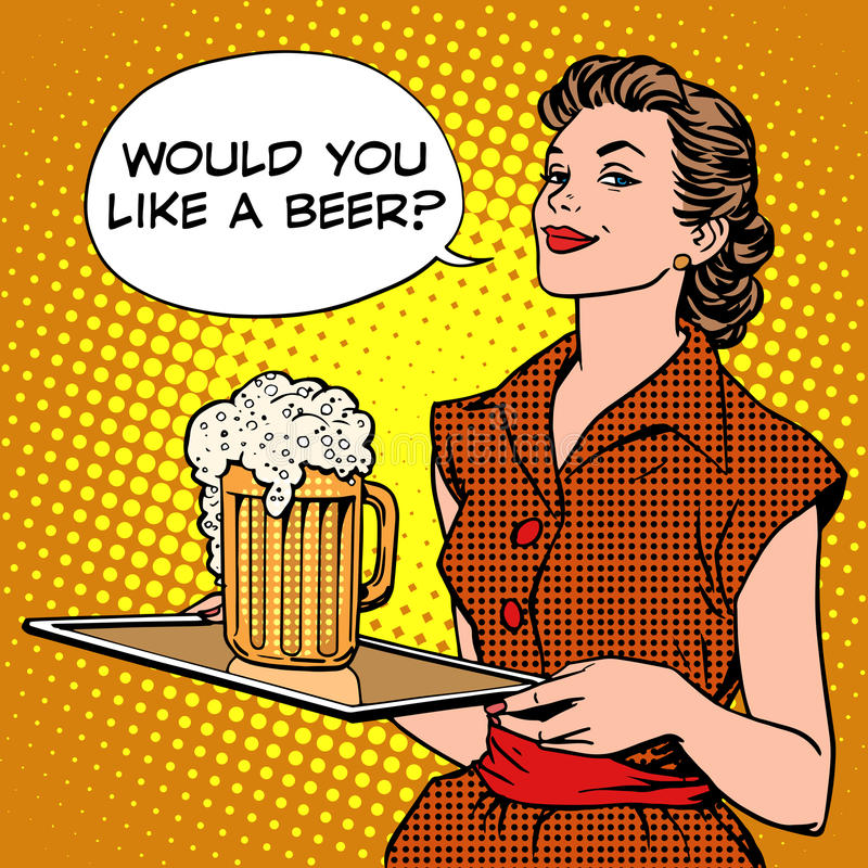 The waitress beer on a tray vector illustration