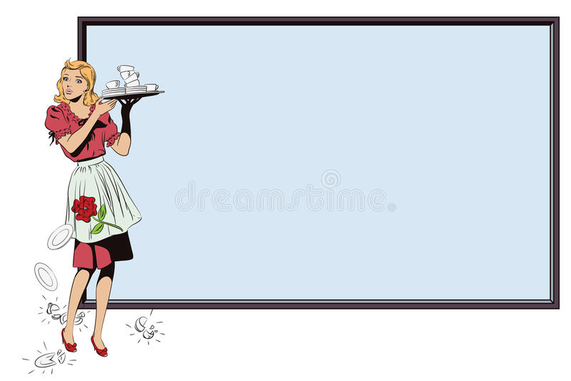 Waitress with breakfast. Poster for your brand. stock illustration