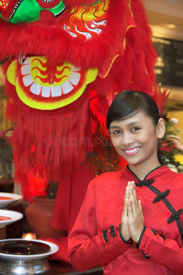 Waitress In Chinese Costume royalty free stock photo