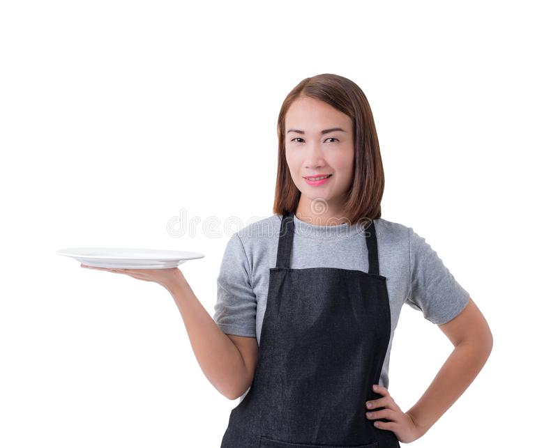 Waitress, delivery woman or Servicewoman in Gray shirt and apron isolated on white background royalty free stock photography