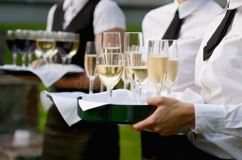 Download Waitress With Dish Of Champagne Glasses Stock Image - Image of champagne, restaurant: 26127937