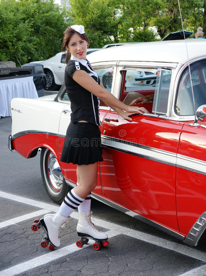 Waitress At Drive-in Restaurant Stock Photo