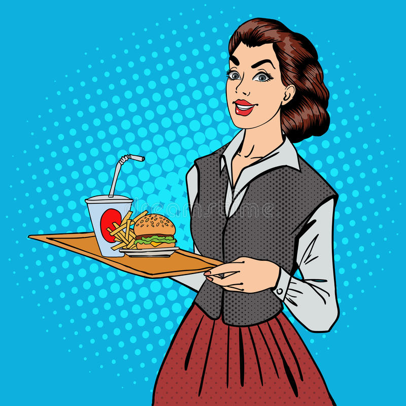 Waitress with Fast Food. Woman Holding a Tray with Burger vector illustration