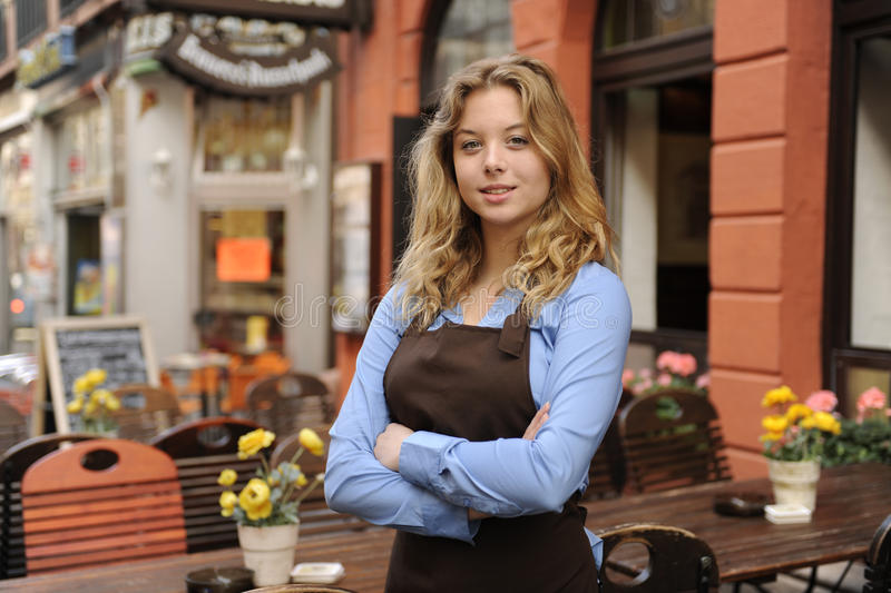 Download Waitress In Front Of Restaurant Stock Image - Image: 21483073