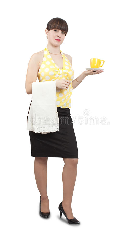 Download Waitress Girl With A Cup Of Coffee Stock Image - Image: 12211243