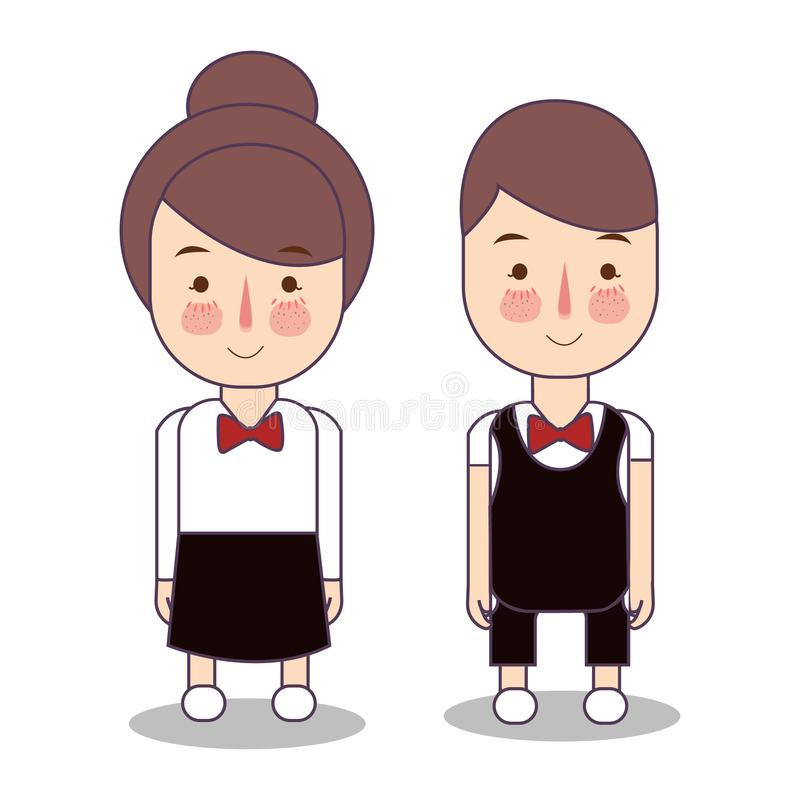 Waitress male and female waiter. Vector character service restaurant. wearing red tie. royalty free illustration