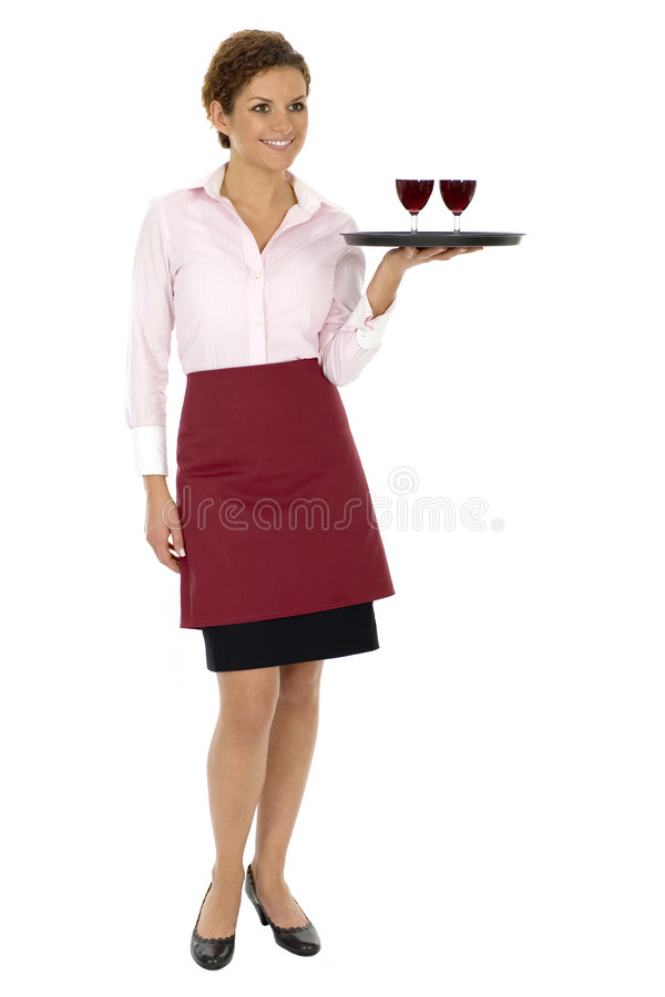 Waitress Serving Wine royalty free stock image