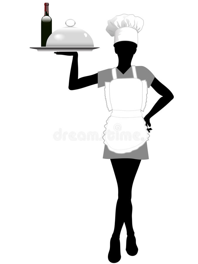 Download Waitress Silhouette In Chef Hat Holds Serving Tray Stock Illustration - Image: 11502356